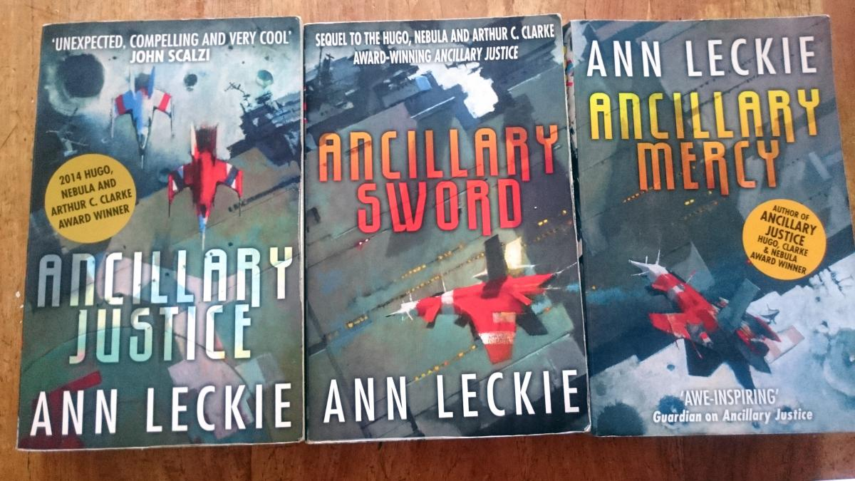 Book covers in the Ancillary Justice/Sword/Mervy trilogy