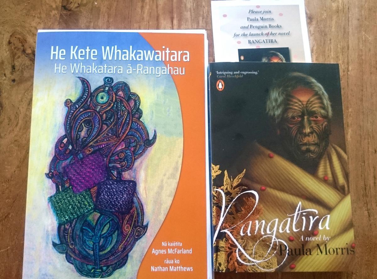 Covers of He Kete Whakawaitara and Rangatira