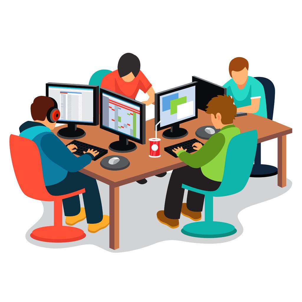 Kids sitting around computers online