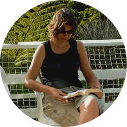 Sue McDowall reading a book