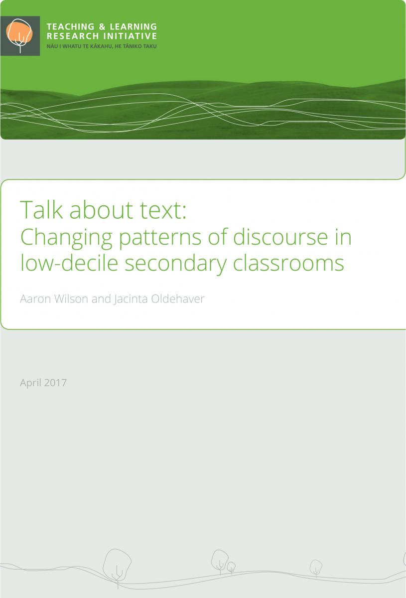 Cover of report for Changing patterns for talk in the classrooms
