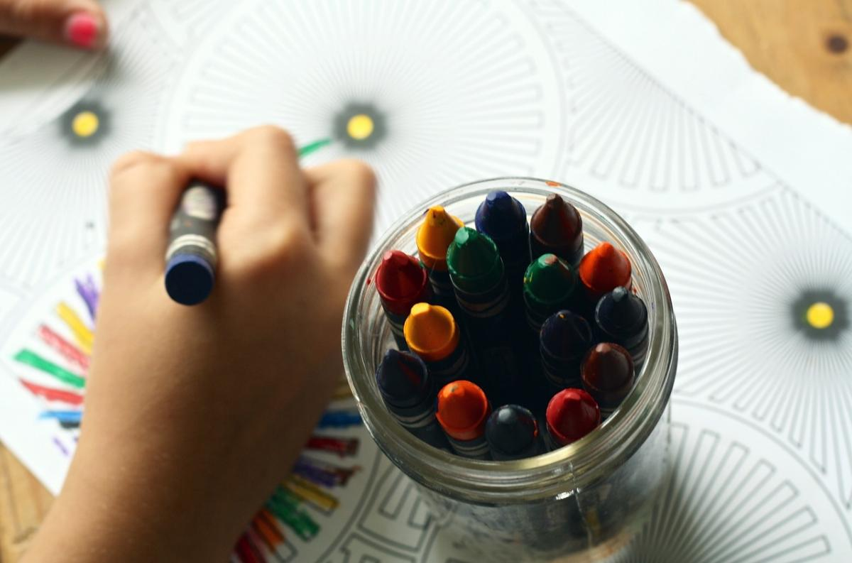 Hand drawing with crayons